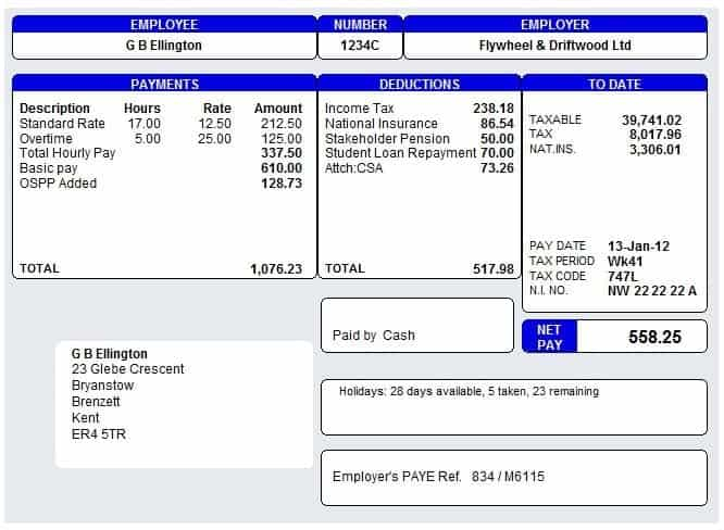 Payslip Template 4  Basic Payslip Template Excel Download