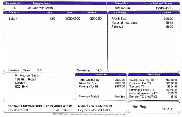 Great Payslip Template 7 For Free Wage Slips Template
