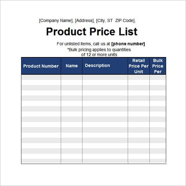pricelist template excel