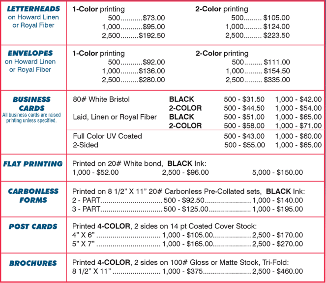 price list template 5