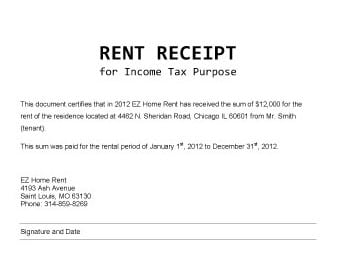 9+ Rent Receipt Templates - Word Excel PDF Formats
