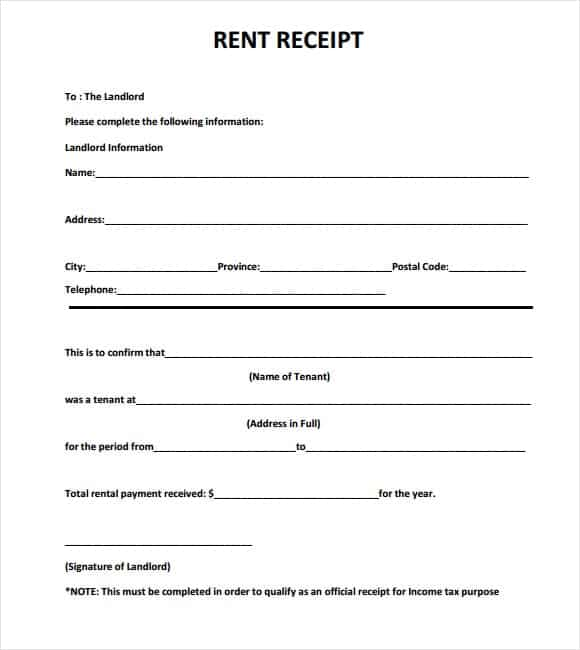 9 Rent Receipt Templates Word Excel PDF Formats – Home Rent Receipt Format