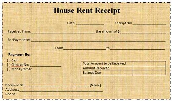 proforma of house rent receipt