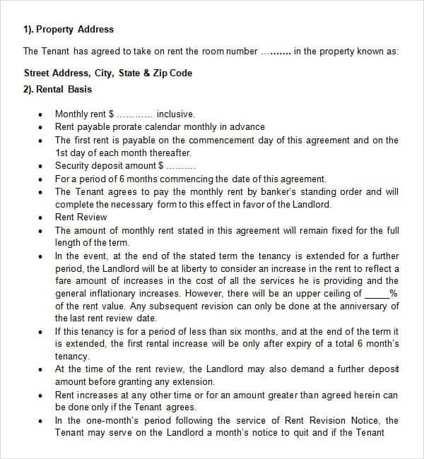 20 Rental Agreement Templates Word Excel PDF Formats – Room Rental Agreements