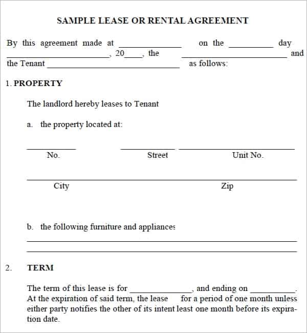 Rental Agreement Sample Rental Agreement  Rental Agreement Form