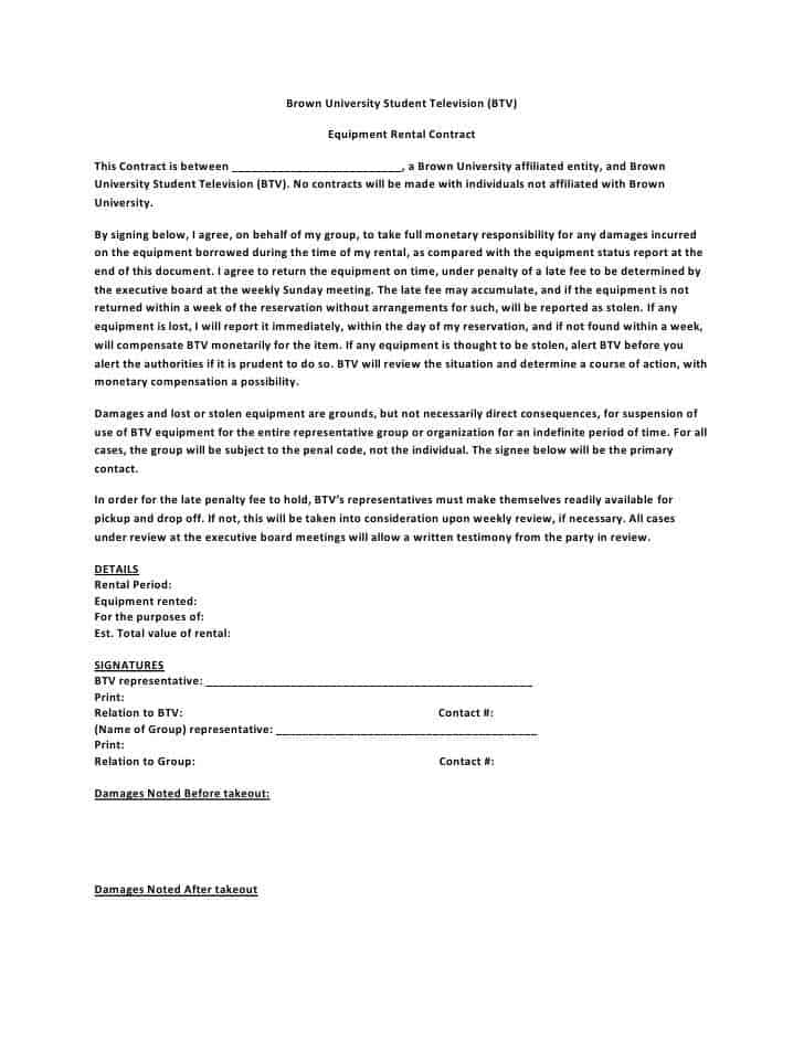 Equipment Lease Agreement Equipment Lease Agreement With Option – Student Agreement Contract