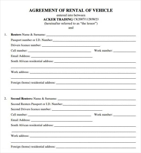 Vehicle Rental Agreement Template