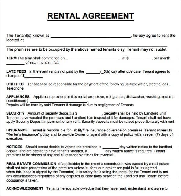 20+ Rental Agreement Templates