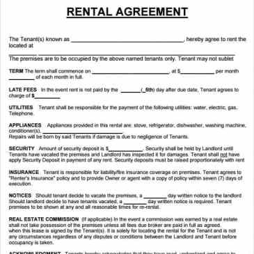 Apartment rental agreement template archives word templates 20 rental agreement templates maxwellsz