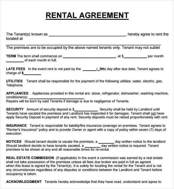 20 Rental Agreement Templates Word Excel PDF Formats – Printable Rental Agreement Template