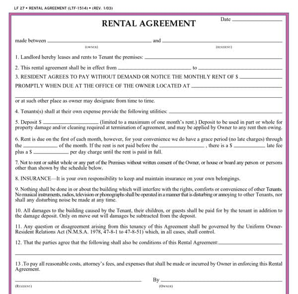 Simple Rental Agreement Example  Best Printable Agreement