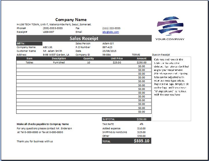 8+ Sales Receipt Templates