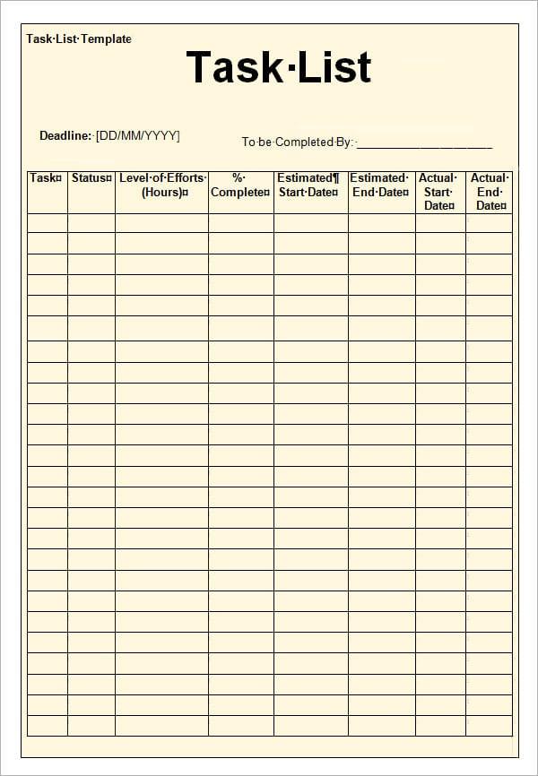 12+ Task List Templates - Word Excel PDF Formats