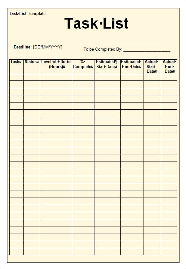 Here Is A Project Task List Template Created Using MS Excel By Our Staff  Members To Help Our Visitors Get Benefit From This.