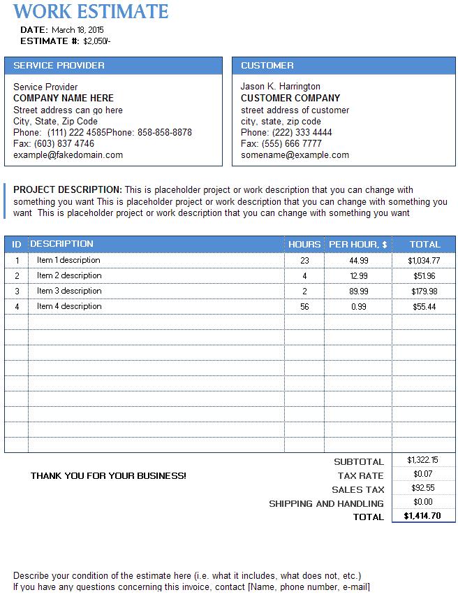 9+ Work Estimate Templates - Word Excel PDF Formats