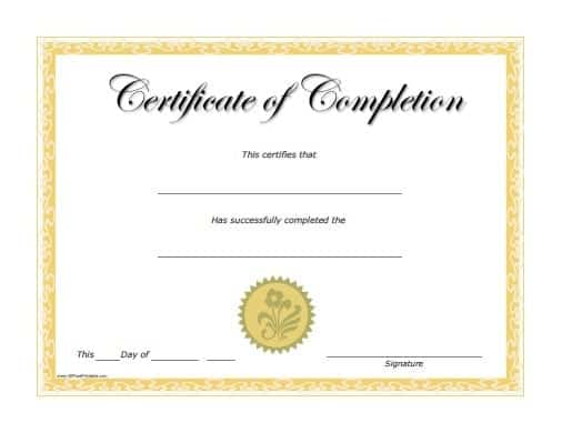 certificate of completion template 4548574