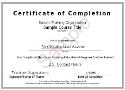 certification of completion sample Template – Certificate of Completion Sample