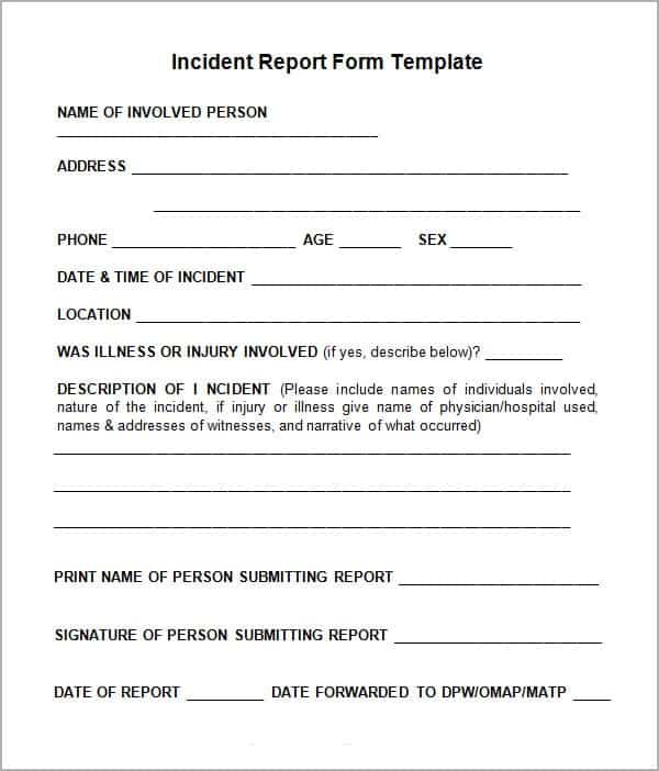 Incident Report Templates  Word Excel Pdf Formats