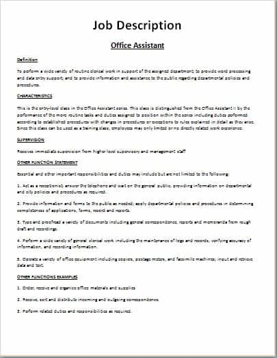 Job Description Template 16451  Job Description Form Sample