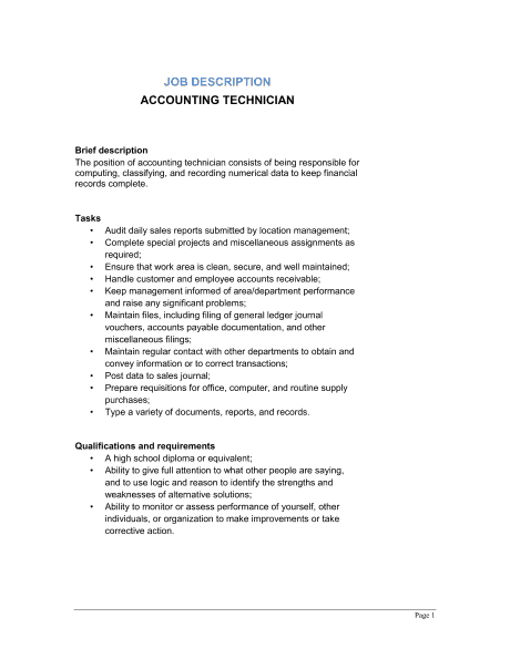 Job Description Example Archives - Word Templates