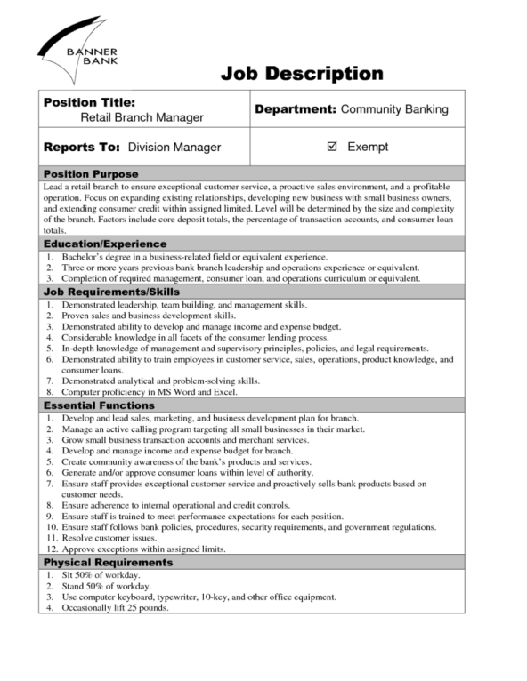 9 job description templates word excel pdf formats for Creating a job description template