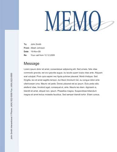 Memo Templates  Word Excel Pdf Formats