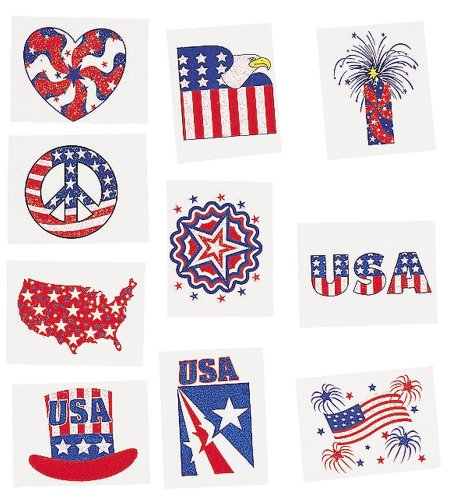 Patriotic Glitter Tattoos are perfect for the kids or friends that want to have fun with temporary patriotic tattoos.