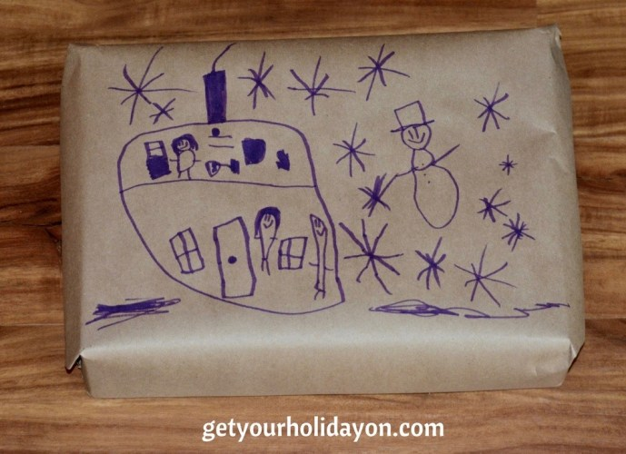 Kids drawings make some of the cutest gift wrap ideas! A great gift wrap idea for mom, dad, grandma, or someone else special in your life. Check out the other gift wrap ideas we have!