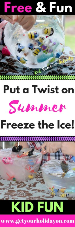 "Have you been searching for a fun activity for the kids to do this summer? This idea is a great way to cure the ""boredom blues"" and keep the kids entertained. Instead of playing in the water... put a twist on summer and freeze the ice."
