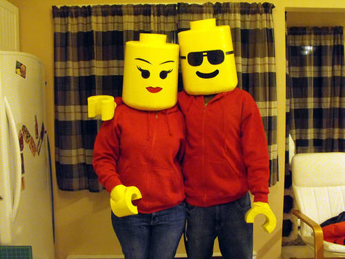 7 Halloween Couple Ideas: Wow! Check out this LEGO couple adult costume this would be perfect for your Halloween party!