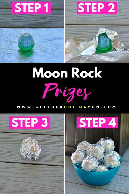 To make the moon rock hunt. What you will need to do is add a party favor, trinket, miniature toy, or a candy prize to the capsule. The second thing you'll do is wrap the capsule in aluminum foil. Creating a moon rock shaped form. #teachers #teaching #learning #momlife