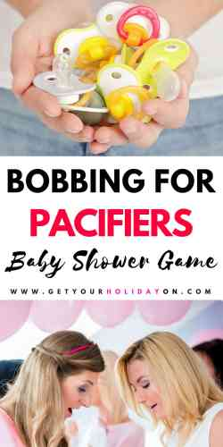 Want to find a Modern Baby Shower Game? Have you heard ofBobbing for Pacifiers or Bobbing for Binkies? It is a new pacifier baby shower game that soon to be moms, new moms, grandmas, aunts, and party guests will love to play! Especially because, it's funny! #momlife #babyshower #partyplanner #games