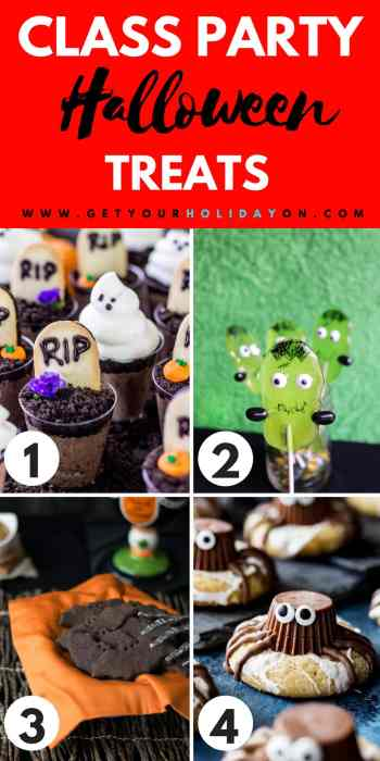 Need ideas to make Halloween Treats for a Class Party? We have rounded up a not so spooky list just for you! #momlife #diyfall #cookies #foodie
