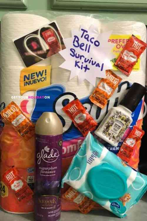 This Taco Bell Survival Kit is a prank worthy, adult gag gift, teenage wish list, party item! #gaggift #funny #diys #momlife