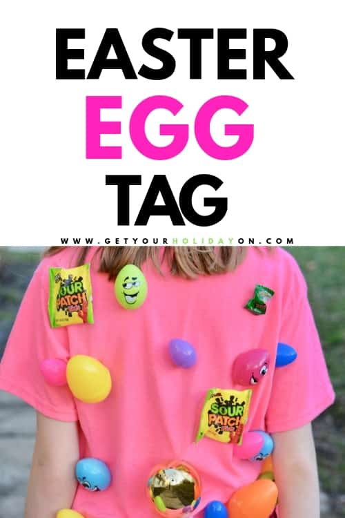Bring on the bunny feet and the Easter egg tag game! Straight ahead you will find out all about this easter game for kids. Ever heard of the human pinata? What about the shirt made into an Easter egg hunt? Well, that's what we are all about here at Get Your Holiday On. Making easter games for families! #pinata #crafts #momlife #kids