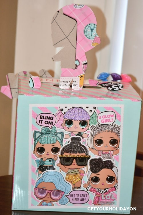 LOL Doll Valentine Box! This LOL doll project for a card box at school turned out really cool! You should see the front!
