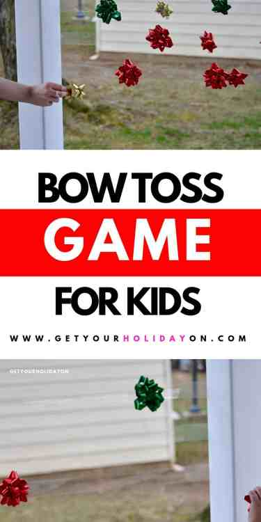 The object of the game is to see how many bows (Christmas bows) you can toss and stick to the tape versus your opponent in a minute. #diys #christmas #games #partyplanning