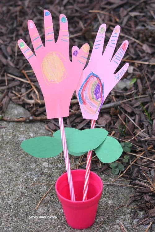 Handprint flower crafts kids can make for Mother's Day!