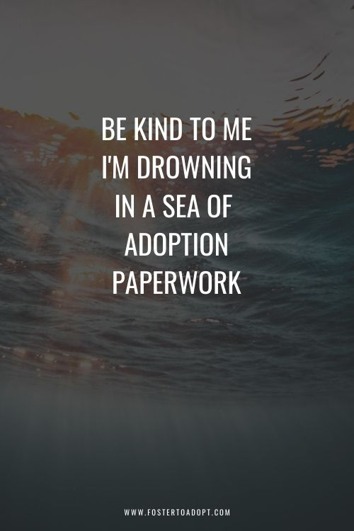 Be Kind to me I'm drowning in adoption paperwork quote!