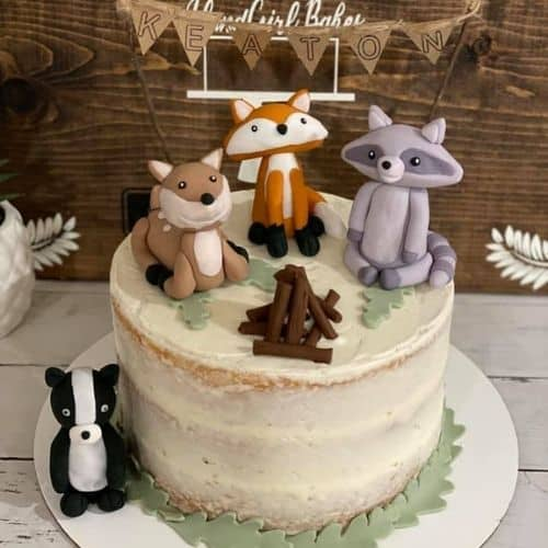 out in the wilderness animal cake