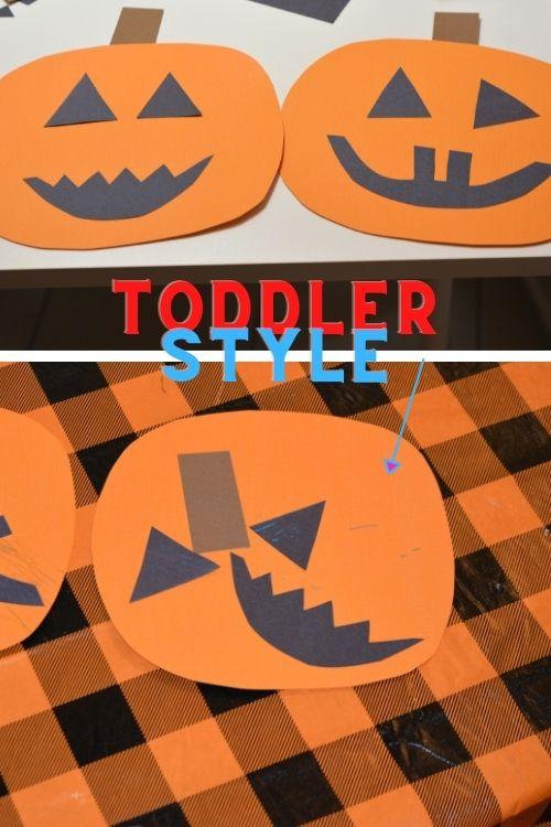 Toddler pumpkin making craft idea.