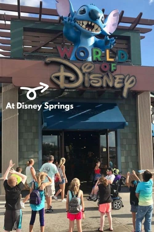 Showing the reader what Disney Springs looks like and the free options they have there to check out.