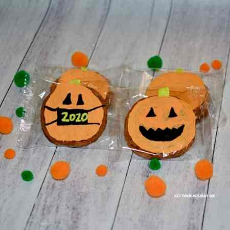 pumpkin oatmeal creme pie with decorated wrapper.