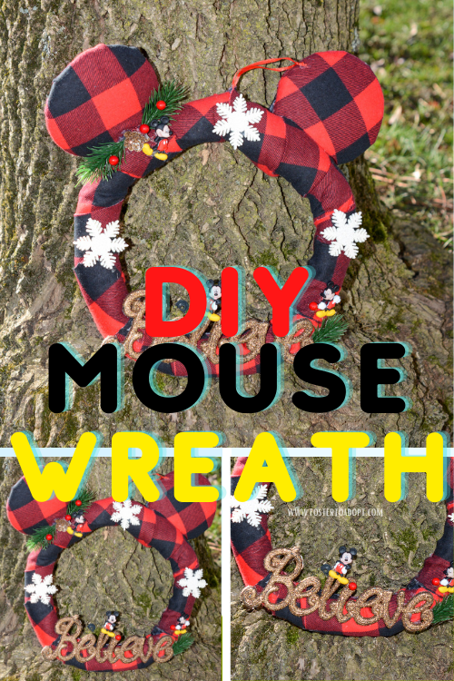 easy, festive, and budget friendly mouse wreath with Disney inspired theme.