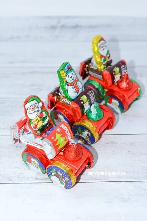 Chocolate bars that are needed to make a candy Santa sleigh.