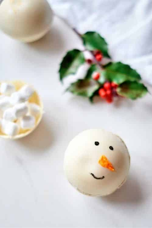 snowman white chocolate hot chocolate bombs.
