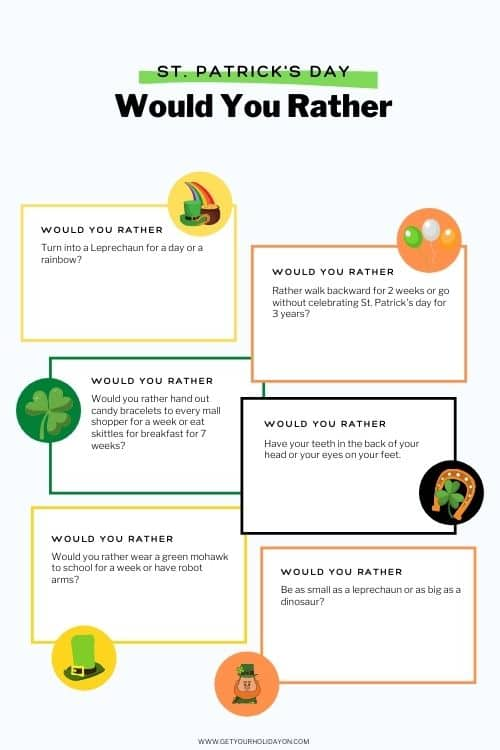 Free printable of the St. Patrick's Would you rather game with questions.