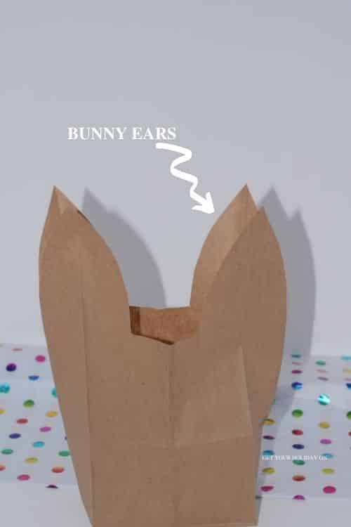This will create the bunny ears shape to make the easter bunny bag.
