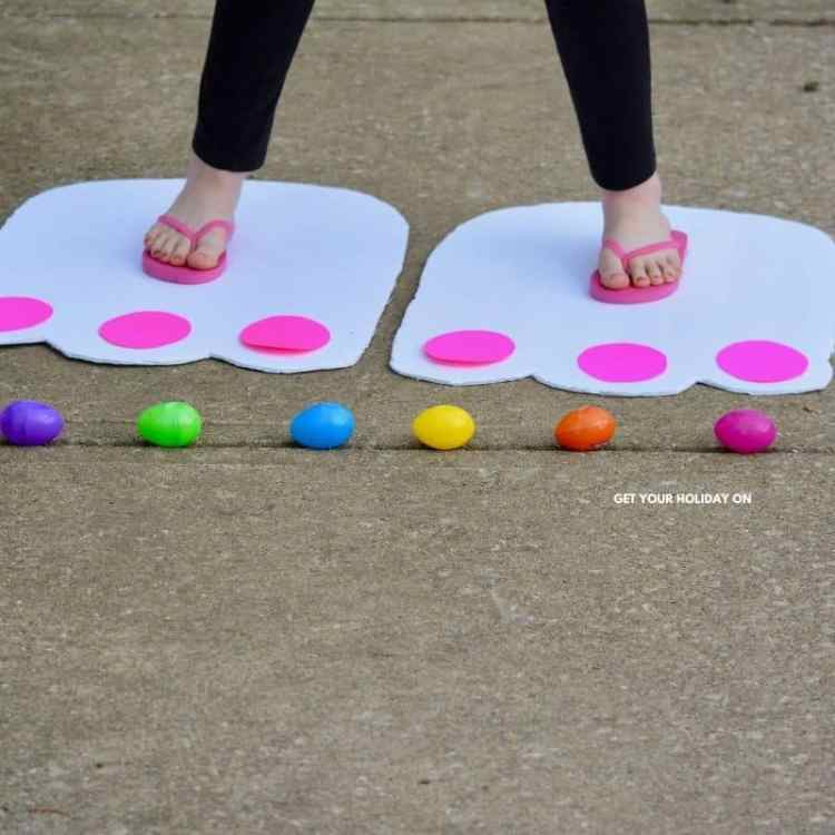 Funny Bunny Feet Easter Craft for children, teens, or grownups! Decorated white giant bunny feet with pink paws.
