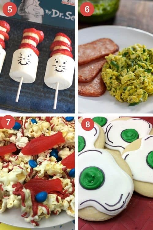 Seuss celebration ideas with cat and that snack recipes, green eggs and spam, candy popcorn recipe, and green eggs and ham cookies for kids.